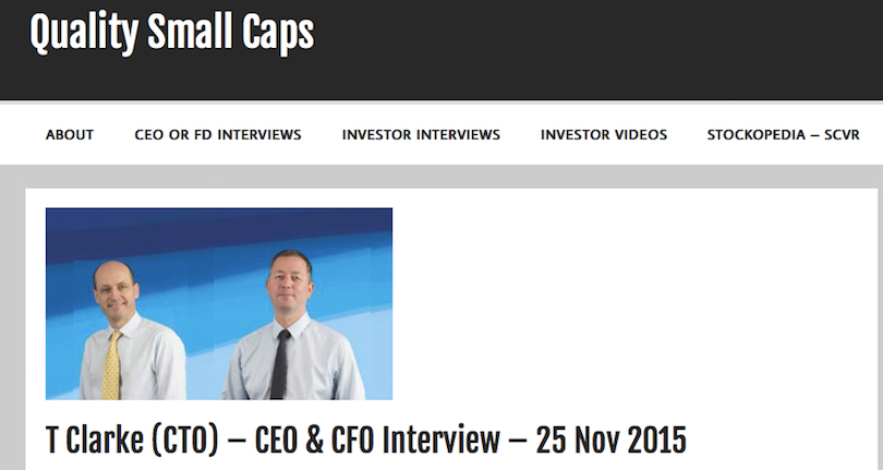 Quality Small Caps interview TClarke CEO and CFO
